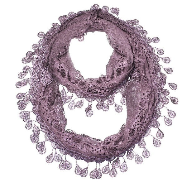 "Women's Sheer Lace Scarf With Teardrops Fringe - l. purple - 62"" x 12"""