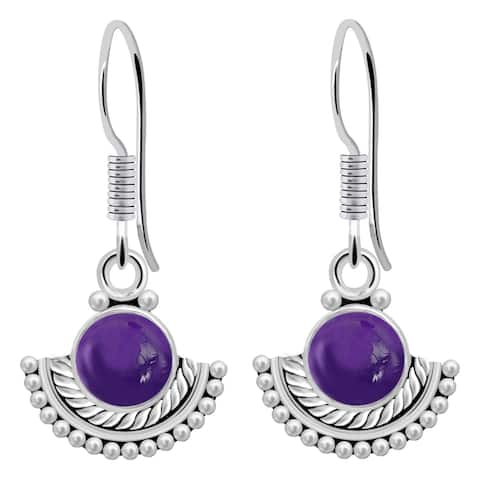 Amethyst Sterling Silver Round Dangle Earrings By Orchid Jewelry
