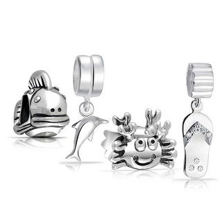 Bling Jewelry 925 Sterling Silver Beach Sea Life Dangle Bead Charm Set