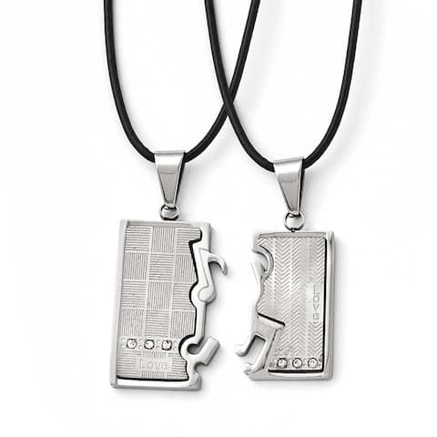 Chisel Stainless Steel Polished/Brushed CZ Love Music Halves Necklace Set