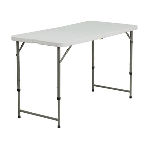 Offex 24''W x 48''L Height Adjustable Granite White Plastic Folding Table [OF-DAD-YCZ-122Z-2-GG]