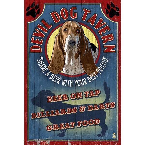 Devil Dog Tavern Vintage Sign Basset - LP Artwork (Acrylic Wall Clock)
