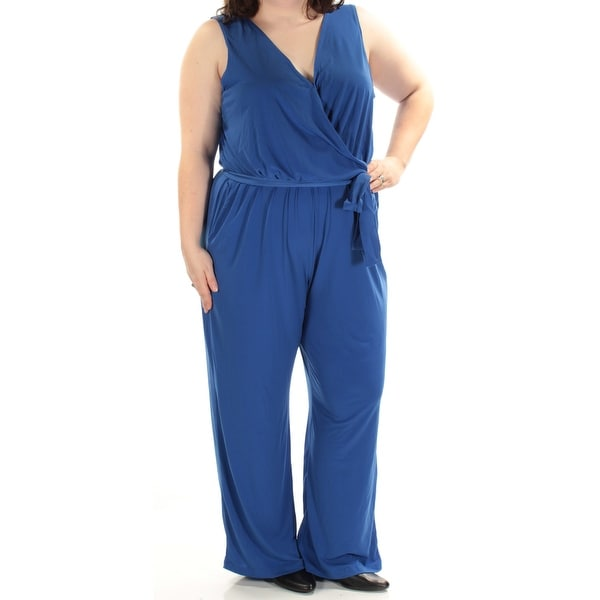 fd3a64e0b66 Shop NY COLLECTION Womens Blue Belted Petite Sleeveless V Neck Wide Leg  Jumpsuit Plus Size  3X - On Sale - Free Shipping On Orders Over  45 -  Overstock - ...