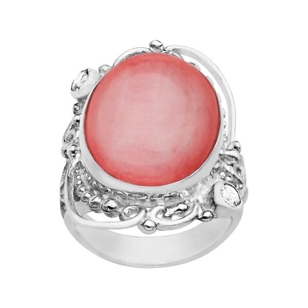 Sajen Pink Selenite and White Topaz Ring in Sterling Silver