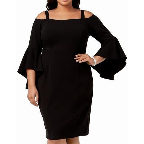 R&M Richards Womens Dress Black Size 16W Plus Sheath Cold Shoulder