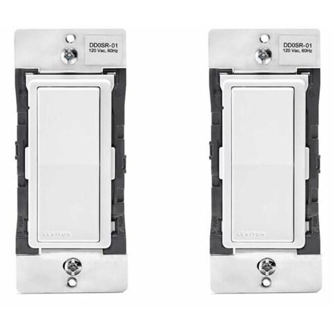 Leviton DD0SR-1Z 120VAC Decora Digital/Decora Smart Coordinating Switch (2 Pack) - White