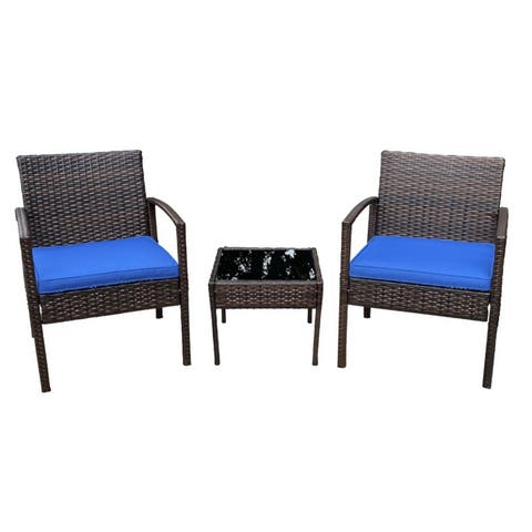 Pyramid Home Decor Patio Bistro Set Rattan 3-Piece Outdoor Furniture
