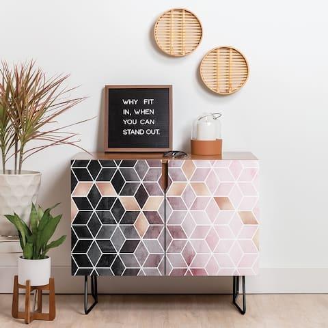Deny Designs Pink Grey Gradient Cubes Credenza