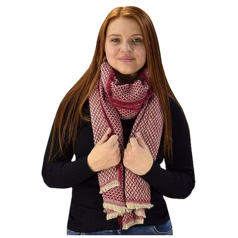 Peach Couture Woven Basket Weave Blanket Scarf