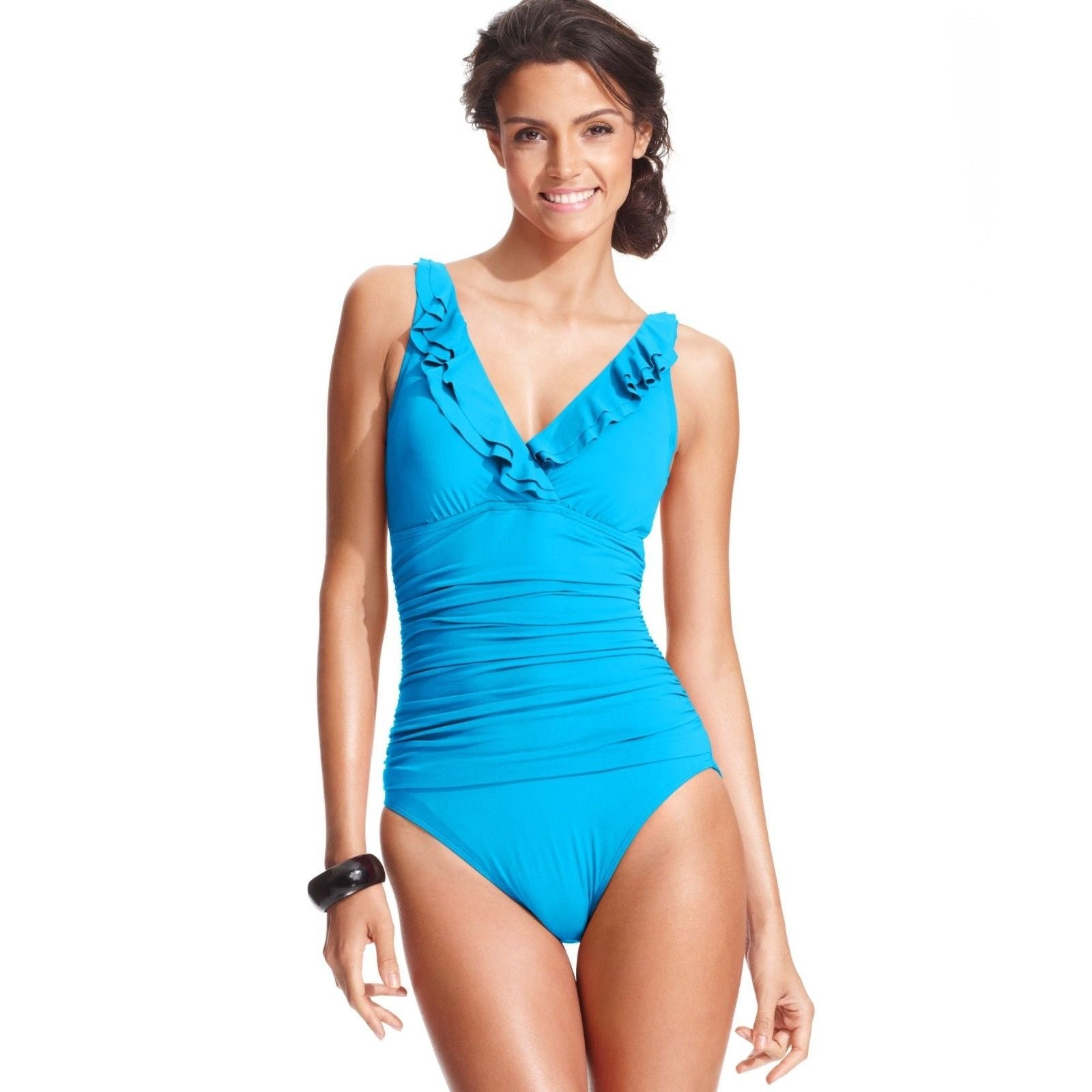 dcce210be11ceb Shop Lauren Ralph Lauren Tummy-Control Underwire Ruffled One-Piece TUR SIZE  14 - Free Shipping Today - Overstock - 27068923