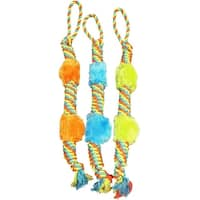 """Boss Pet WB15523 Chomper Rope Tug With Plush Squeakers, 29"""", Assorted Colors"""
