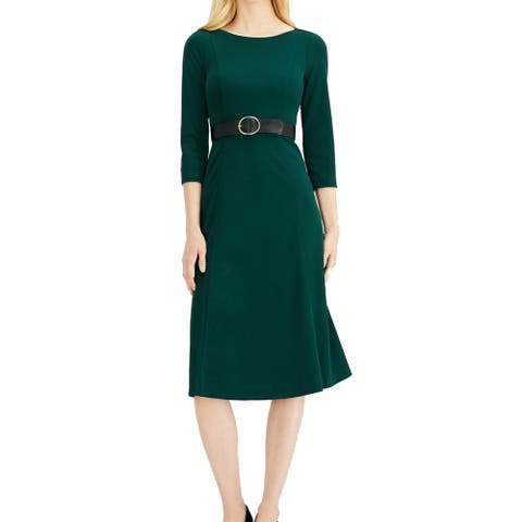 Calvin Klein Womens 3/4 Sleeve Crepe Hunter Green Size 6 Sheath Dress