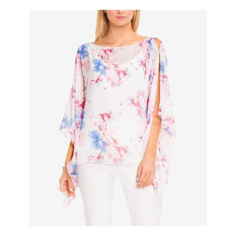 VINCE CAMUTO Womens Pink Floral 3/4 Sleeve Jewel Neck Top Size M