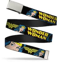 "Blank Chrome 1.0"" Buckle Wonder Woman W Face Close Up Black Webbing Web Belt 1.0"" Wide - S"