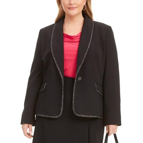 Kasper Women's Jacket Black Size 24W Plus Chain Trim Single Button