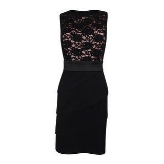 Connected Apparel Women's  Sequined Tiered Sheath Dress