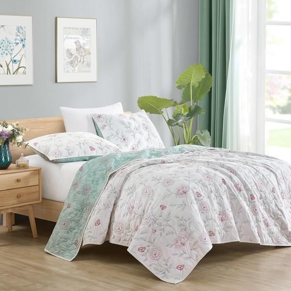 Beaute Living Cotton Floral Embroidery 3-Piece Quilt Set. Opens flyout.