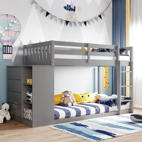 Merax Twin over Twin Bunk Bed with 4 Drawers and 3 Shelves
