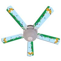 Puppy Dog Print Blades 52in Ceiling Fan Light Kit - Multi