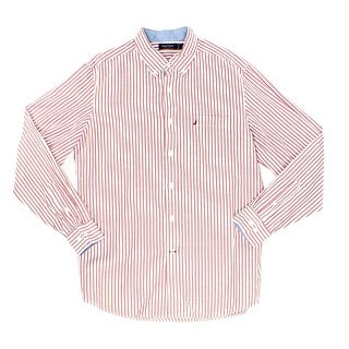 Nautica NEW Red White Mens Size Medium M Button Down Striped Shirt