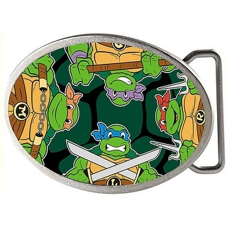 Classic Tmnt Turtle Battle Poses Turtle Shell Framed Fcg Chrome Oval Rock Belt Buckle - One Size Fits most
