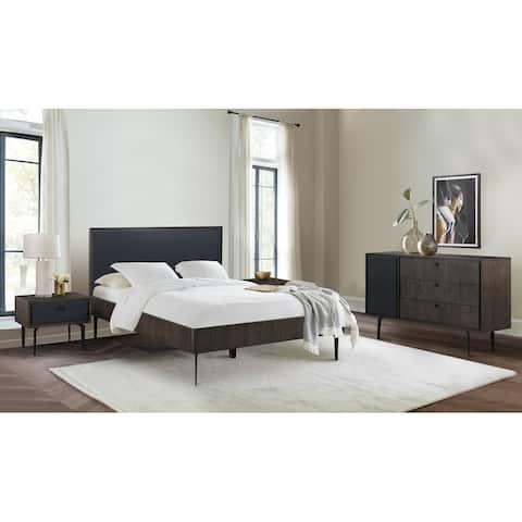 Cross Dark Gray Solid Oak King or Queen 3pc or 4pc Bedroom Set