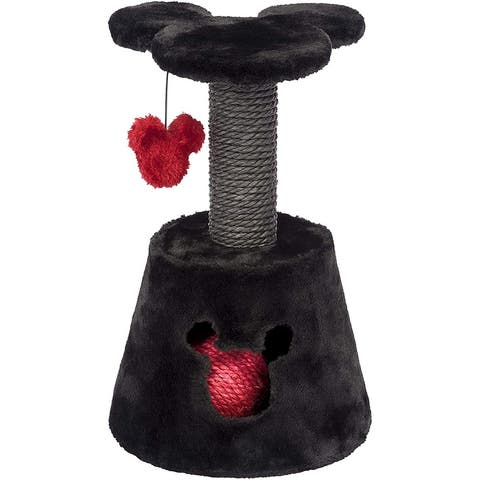 Penn-Plax Disney Kitten Activity Center with Sisal Scratching Post, Rope Ball, Swatting Toy, and Platform - Dark Gray and Red