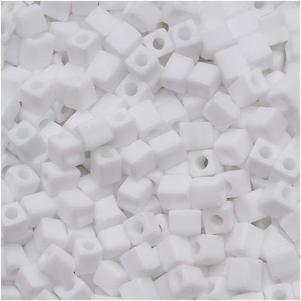 Miyuki 4mm Glass Cube Beads Matte Opaque White AB 402FR 10 Grams