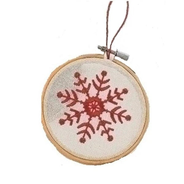 """4.5"""" White and Red Embroidered Snowflake in Hoop Loom Christmas Ornament"""