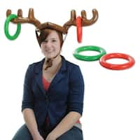 Club Pack of 12 Red, Green and Brown Inflatable Reindeer Antlers Ring Toss Games 27""
