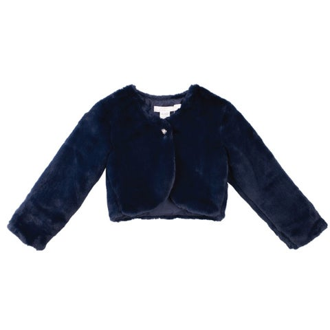Designer Kidz Baby Girls Navy Button Long Sleeved Thalula Fur Shrug