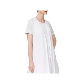 Eileen Fisher Womens Petites Cardigan Top Linen Open Front - pp
