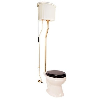 Renovator's Supply High Tank Toilet with Biscuit China Finish, Brass L-Pipe and Elongated Bowl