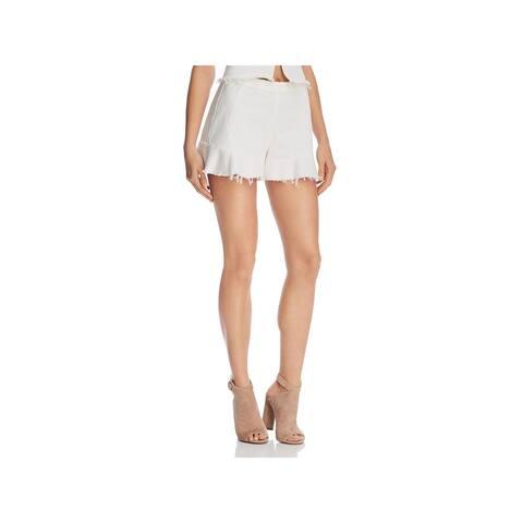 Blank NYC Womens High-Waist Shorts Denim Frayed Hem