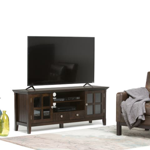 WYNDENHALL Normandy SOLID WOOD 60 inch Wide Rustic TV Media Stand For TVs up to 65 inches - 60'' x 16.5'' x 24
