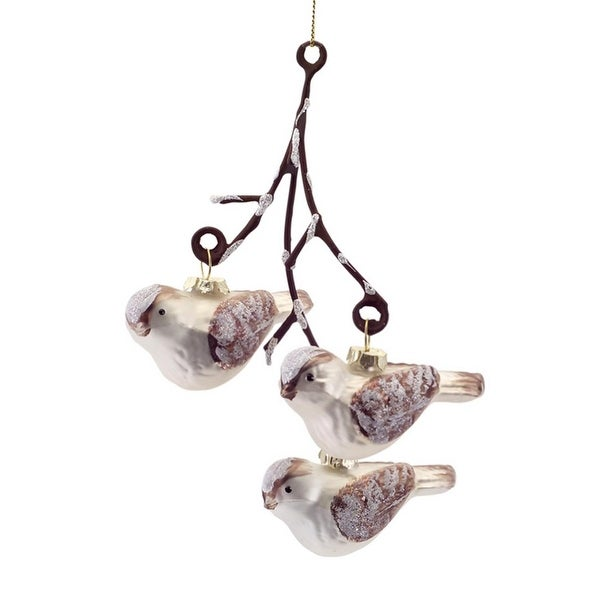 Pack of 6 White and Bronze Embellished Birds and Branch Glass Christmas Ornaments 6.5""