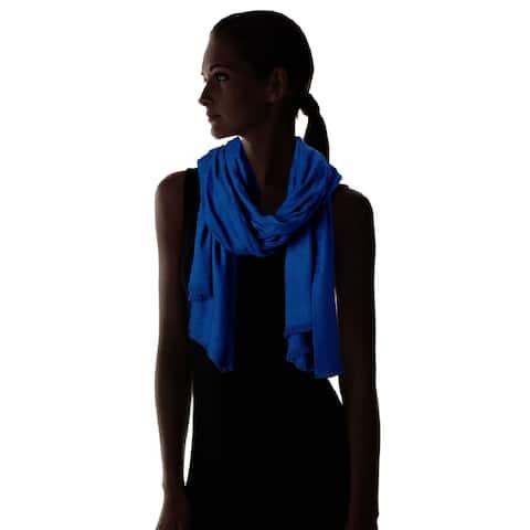 Calvin Klein Women's Ck Logo 2 in 1 Pashmina Wrap Scarf Blue - One Size Fits Most