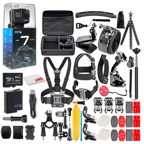 GoPro HERO7 Black - With 64GB Micro Sd Card and 50 Piece Accessory Kit