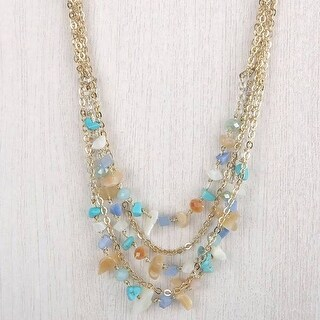 Mad Style Marissa Blue Multi Chipped Stone Short Necklace