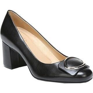 Naturalizer Women's Wright Block Heel Pump Black Leather