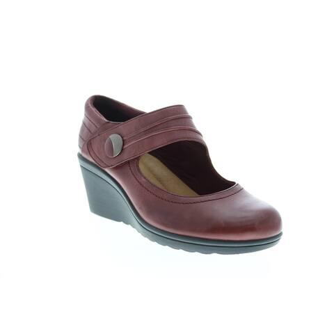 Earth Heron Leather Merlot Womens Wedges Heels
