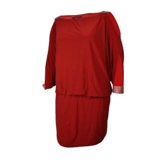 Betsy & Adam Women's Rhinestone Dolman Dress