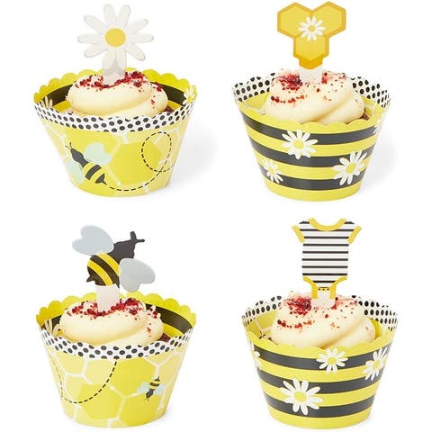 Bee Cupcake Toppers and Wrappers (52 Pieces) - Multi