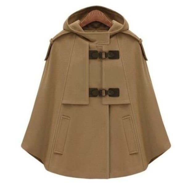Women Wool Cape Hooded Double Breasted Coat. Opens flyout.