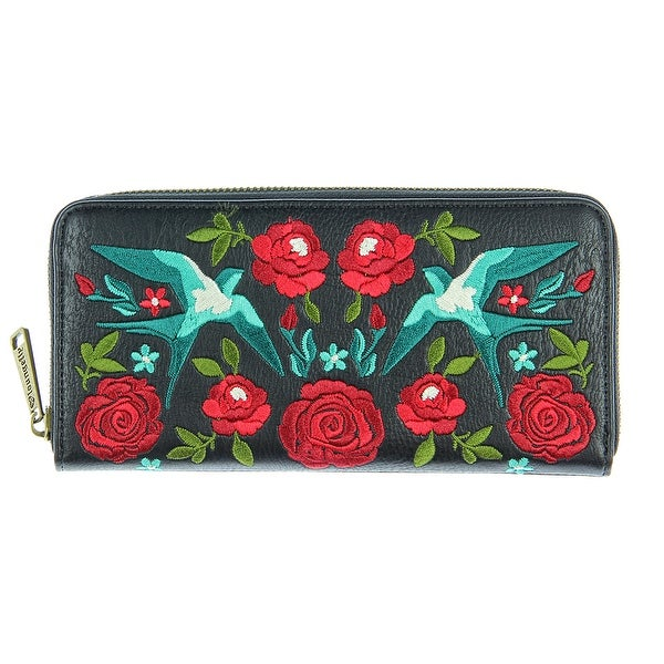 Loungefly Embroidered Swallows & Roses Tattoo Design Black Zip Around Wallet - One Size Fits most