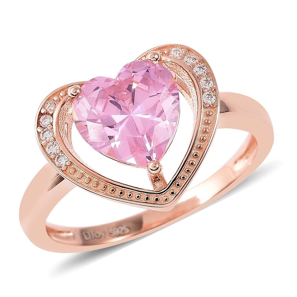 Top Quality Rose Gold Color pink CZ Cubic Zirconia Ring Bague Fashion Cubic Zirconia Anniversary Jewelry For Women T133