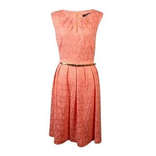 Ellen Tracy Women's Gold Scroll Pleated A-Line Dress - Coral