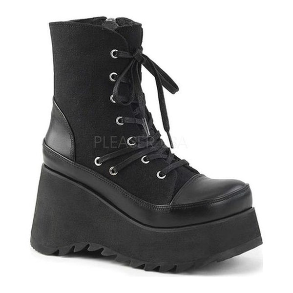c0568d5334 Shop Demonia Women's Scene 50 Lace-Up Platform Ankle Boot Black Vegan  Leather/Canvas - Free Shipping Today - Overstock - 15447011