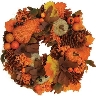 """10"""" Autumn Harvest Gourds and Berries Artificial Thanksgiving Wreath Decoration"""