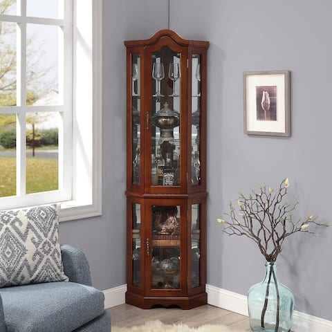 BELLEZE Loraine Canted Front Lighted Corner Curio Cabinet With 5 Tier Shelves, Cherry - standard